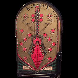 1935 KICKBACK Bagatelle / Pinball Game Jos. Schneider Fantastic Graphics / Great Condition