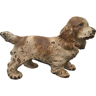 Vintage Hubley Cast Iron Cocker Spaniel Dog Doorstop Tan & White Nursery Size  1920's to 1930's