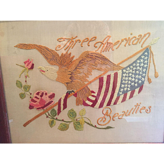 Vintage Needlework American Flag / Eagle / Rose Three American Beauties