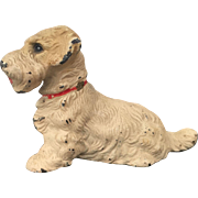Hubley Cast Iron Sealyham Terrier Seated Paperweight Great Paint