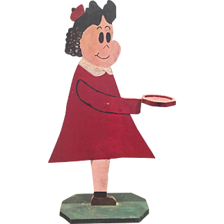 Early 20thc American Folk Art Painted Wood LITTLE LULU Comic Strip Character Butler Smoke Stand