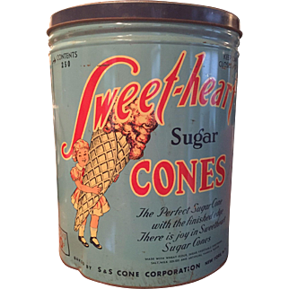 "Vintage SWEET HEART Ice Cream CONE Large Metal  Tin 15"" Tall Advertising NYC 1930s-40s"