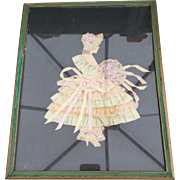Vintage Victorian Style Ribbon Lady & Lace Picture Framed 1920s-30s