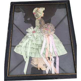 Vintage Victorian Style Ribbon Lady & Lace Picture Framed 1920s-30s Green Ribbon Dress