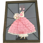 Vintage Victorian Style Ribbon Lady & Lace Picture Framed 1920s-30s Pink Ribbon Dress Real Hair