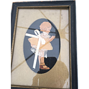 Vintage Victorian Style Ribbon & Lace Lady / Child Picture Framed 1920s-30s Silhouette