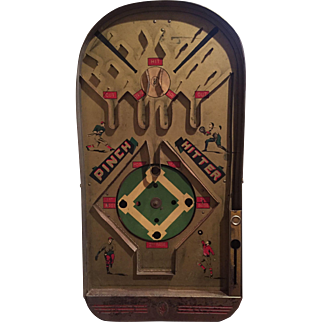Jos. Schneider PINCH HITTER Mechanical Bagatelle Pinball Baseball Great Graphics Great Condition