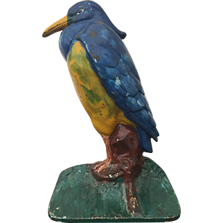 Albany Foundry Blue & Yellow HERON Cast Iron Doorstop Great Paint