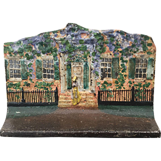 HTF Eastern Specialty Mfg Co. Cottage Cast Iron Doorstop Wisteria Woman in Doorway #50