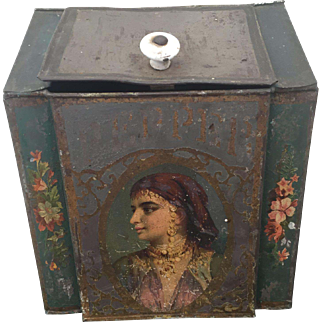 Antique General Store Tole / Toleware PEPPER Tin Hand Painted Woman's Face