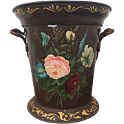 Gorgeous Tole Painted Pail / Bucket Flowers Ornate Handles