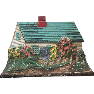 Vintage Cast Iron Cottage / House Door Stop Doorstop Turqouise Roof Great Original Paint