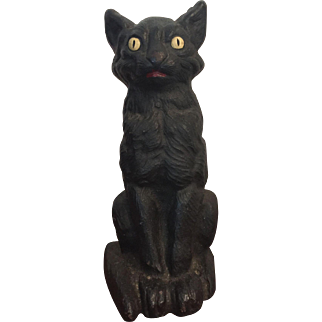 Hubley or National Foundry Halloween Black Cat Standing Doorstop Bright Eyes