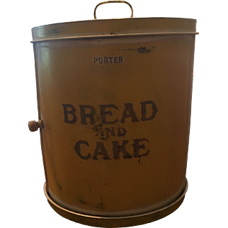 Yellow & White Roll Front Tole Painted Bread & Cake Bin