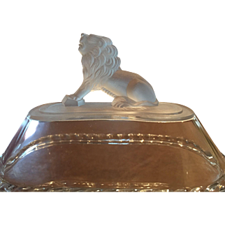 Antique 1870s Gillinder & Sons Frosted Lion SmallOval Compote Rampant Crouching Lion Finial / Lion & Palm Tree Base