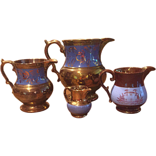Group of Four (4) 19th Century Copper Luster / Lustre Pitchers w/ Blue Bands