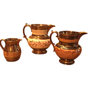 Group of Three (3) 19th Century Copper Luster / Lustre Pitchers w/ Yellow / Yellowware Bands