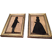 Pair of Borghese Framed Silhouettes 1930s Colonial Man & Woman Original Lemon Gold Frames