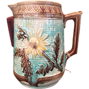Majolica Pitcher Flowers & Leaves on Turquoise Basketweave