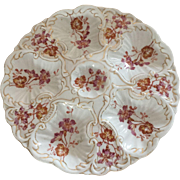 Antique Hand Painted Limoges Oyster Plate Flowers Excellent Condition