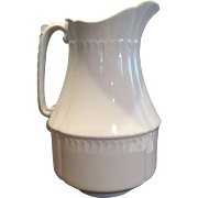 19th Century White Ironstone Pitcher Meakin Geometric Shape Embossed