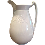 White Ironstone Pitcher England 19th Century Embossed Flowers Very Interesting Shape