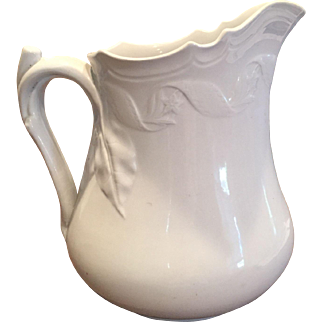 19th Century White Ironstone Pitcher J. Edwards Embossed Flowers / Leaves