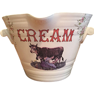 HTF Antique Ceramic CREAM Milk Pail Dairy Advertising Display  Floral Girl Milking Cow Transferware