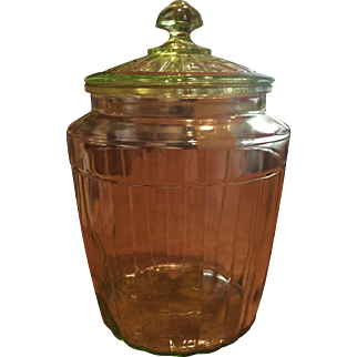 Vintage  Yellow / Green Glass Large Cookie Jar / Covered Jar Ribbed  Glows like Vaseline Glass