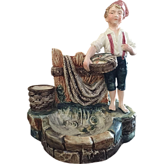 Antique Majolica Match Holder / Striker / Cigarettes / Smoke Set Boy Holding Fish Basket