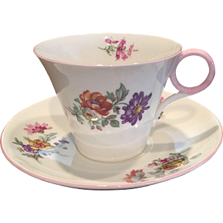 Shelley China Regent Shape Georgian Pattern Cup & Saucer Pink Trim