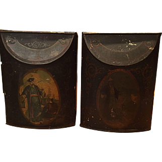 Pair Antique Tole Spice Tins Asian Teacher / Student Mixed Spices & Cayenne