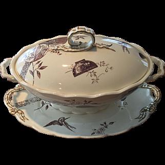 Aesthetic Brown Transfer / Transferware Large Tureen w/ Underplate Powell Bishop & Stonier Oriental Ivory Paragon 1880 Rd Mark