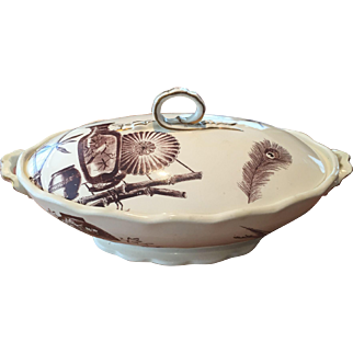 Aesthetic Brown Transfer / Transferware Covered Vegetable Bowl Powell Bishop & Stonier Oriental Ivory Paragon 1880 Rd Mark