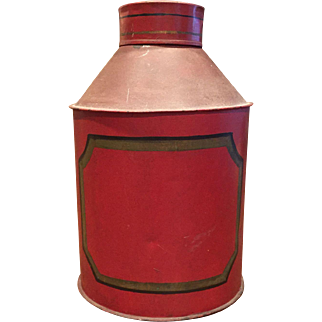 Antique Tole Large Round Spice Tin Red Great Condition