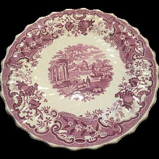 Copeland Spode 19th Century Purple Transfer Plate Ship Pavillion Palace