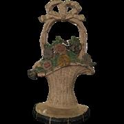 Vintage Hubley Cast Iron Basket of Flowers Doorstop 1920s Marked #69