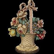 Antique Hubley #121 Rose Basket Flower Floral Urn Cast Iron Doorstop Art 1920 PA