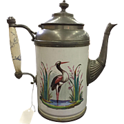 19th Century Graniteware & Pewter Coffee Pot / Teapot Heron Crane Excellent Condition