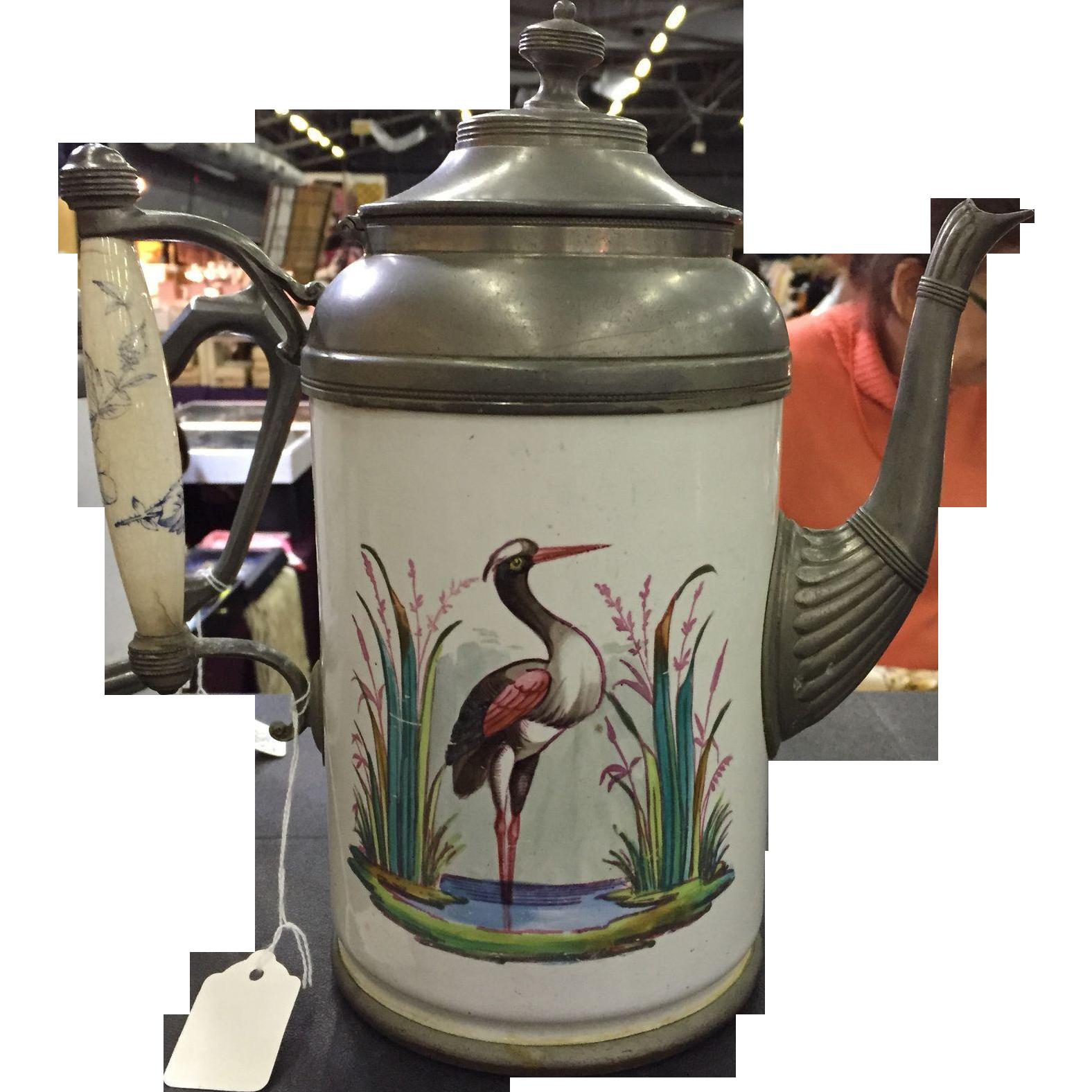 19th Century Graniteware Amp Pewter Coffee Pot Teapot