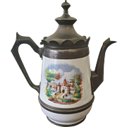 19th C Graniteware w/ Pewter Coffeepot / Teapot CASTLE