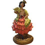 Hubley #193 Spanish Lady / Girl Dancing w/ Fan Cast Iron Doorstop / Doorstop