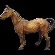 1920's HUBLEY Cast Iron RACE HORSE Large EQUESTRIAN Statue DOORSTOP / Door Stop