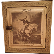 """""""TRUTH"""" Antique Tole Lithograph Bread Box George Washington U.S. Capitol Building Truth Vanilla Extract Advertising"""