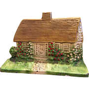 Gorgeous Vintage Cast Iron Cottage Doorstop Door Stop Mustard Roof #125 Great Original Paint