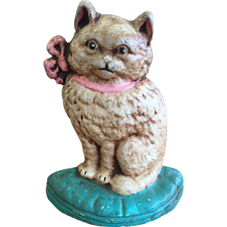 Cast Iron Cat on Pillow Doorstop CN #65 Great Original Paint
