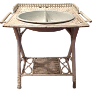 HTF Antique  Child's Wicker Washstand with Divided Wash Bowl Circa 1910-20s Excellent Condiiton