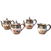 19th Century American Graniteware / Enamelware/ Pewter Set  (2) Small Size Hinged Teapots / Sugar Bowl w/ Lid / Creamer