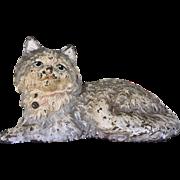 Vintage Hubley Cast Iron White Persian Fireside Cat Metal Doorstop Door Stop Signed