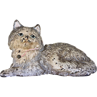 Vintage Hubley Cast Iron White Persian Fireside Cat Metal Doorstop Door Stop Signed